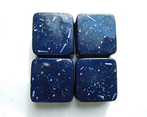- 4 Indigo Blue Mini Cube Tower Busters Orgone Generator Energy Accumulator PERFECT GIFTING TOOL!!!! Made 7.83/432/528Hz Frequency with OM Chants Many Beautiful Ingredients!!