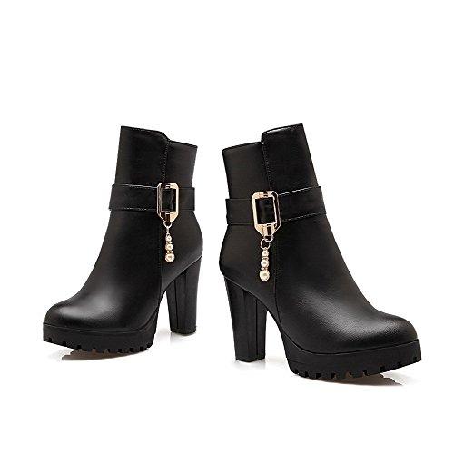 Toe Material Boots Black AgooLar Low High Women's Zipper top Heels Closed Round Soft E7YwqPnxrY
