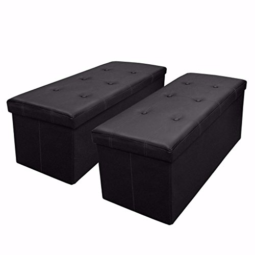 Otto & Ben [2 Piece Set] 30 inch Button Design Memory foam Seat Folding Storage Ottoman Bench with Faux Leather, Black - 2 Piece Ottoman