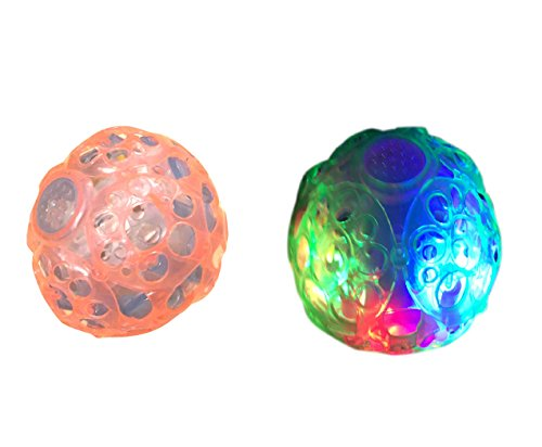 4-Inch Light up Jumping Vibrating Bouncing Ball Toy with Colorful LED Lights and Music (Pack of 2)