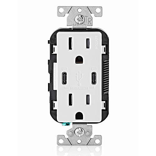 Leviton T5635-W USB Dual Type-C with Power Delivery (PD) In-Wall Charger with 15 Amp, 125 Volt Tamper-Resistant Outlet, White ()