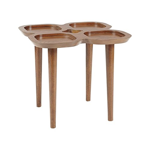 Oak Wood Veneer Oden End Table Pecan Wood Finish