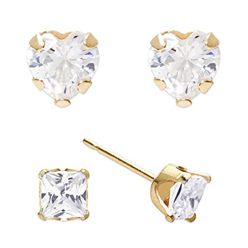 Sally Rose Girls & Kids 2 Pair 14k Yellow Gold Cubic Zirconia Heart and Princess Cut Stud Earrings Set