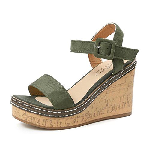 HGWXX7 Slope Sandals,Women Sommer High Heels Fish Mouth Wedge Buckle Strap Shoes(US-5.5/CN-38,Green)
