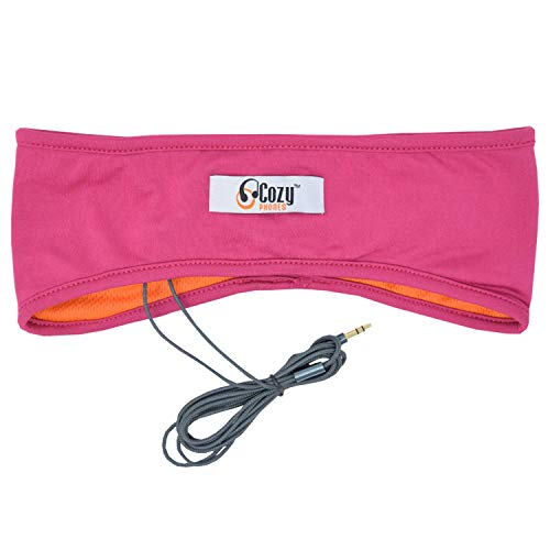 CozyPhones Sleep Headphones & Travel Bag, Lycra Cool Mesh Lining and Ultra Thin Speakers. Perfect for Sleeping, Sports, Air Travel, Meditation and Relaxation - Pink with Orange Liner