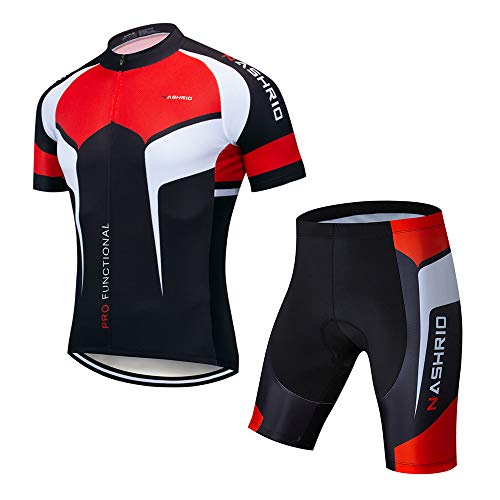 - NASHRIO Men's Cycling Jersey Set Road Biking Short Sleeves Kit with 4D Padded Gel Clothing Full Zipper Closure Bicycle Quick-Dry Breathable Sports Gear Assorted Color - Ideal Gift Idea (Black)
