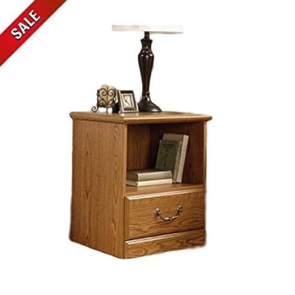 Amazon.com: ATS Oak Nightstand Wood Bedroom Small Nightstand ...