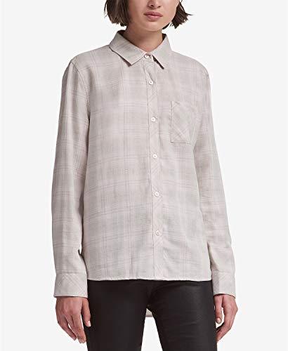 DKNY Ruffle-Trim Lurex Striped Shirt Grey Size Medium