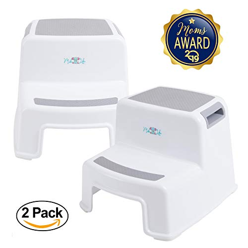 (2 Step Stool for Kids   Slip Resistant Soft Grip for Safety   Toddler Two Step Stool for Kitchen, Bathroom and Toilet Potty Easy Training   Dual Height and Wide Step with Carrying Handles (2 Pack))