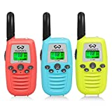 WOSPORTS Kids Walkie Talkies, 3 Pack Two Way Radios with Belt Clip, 3