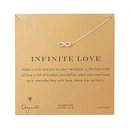 LANG XUAN Friendship Pearl Necklace Lucky Elephant Star Pearl Circle Pendant Necklace for Women Gift Card (Infinity (Best Infinity Friends Circle Necklaces)