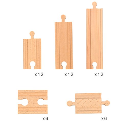 Straight Wooden Train Tracks (48 Pieces Wooden Railway Train Track Expansion Set Toy for Kids Straight Connectors Compatible with Thomas Brio Ikea Chuggington Train Tracks and Other Major Brands)