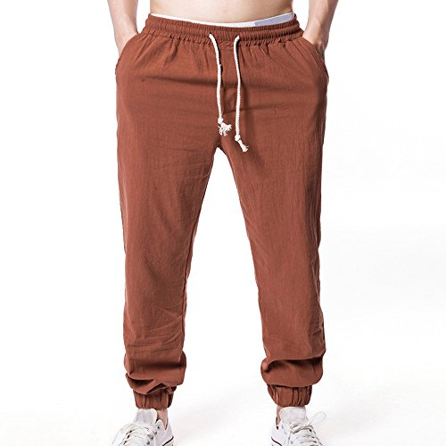 iYBUIA Summer Casual Men Solid Linen Elastic Soft Casual Loose Pencil Pants Coffee -