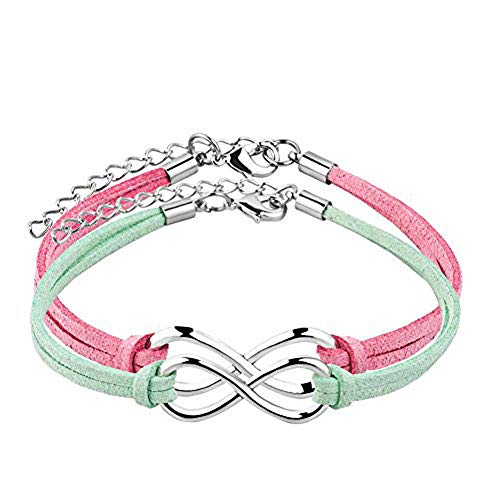 (JewelryJo 2 Pack Infinity Endless Love Hope Handmade Leather Wrap Wristband Adjustable Bracelets Multi Color Pink Pale Green)
