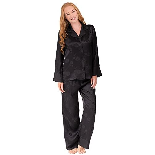 227e52727 good PajamaGram Women's Elegant Silk Pajamas in Black with Button-Up Top  and Pants