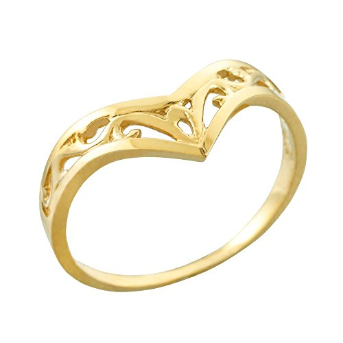 Fine 14k Yellow Gold Filigree Chevron Ring for Women (Size 12)