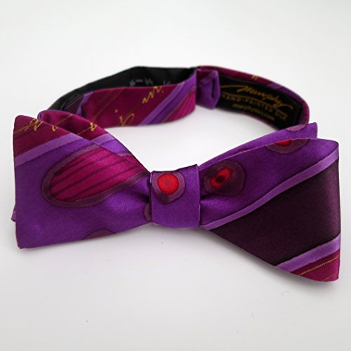 100% Silk Hand-Painted Hand-Made Men's Self Tie Bow Tie ''Purple Royal'' Art to Wear by Murphyties by Murphyties Inc.