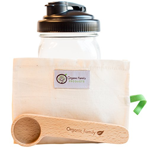 Wide Mouth Cold Brew Coffee Maker - Glass Mason Jar Carafe Kit - Make, Store & Pour Iced Coffee Beverages - Organic Cotton Filter Brewing System to for Low Acid, Best Tasting Concentrate by Organic Family Products