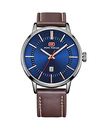 Dress Brown Dial (Men'S Casual Classic Nice Metal Case Blue Dial Unique Quartz Analog Dress Wrist Business Watch With Brown Leather Band With Calendar Date Window)