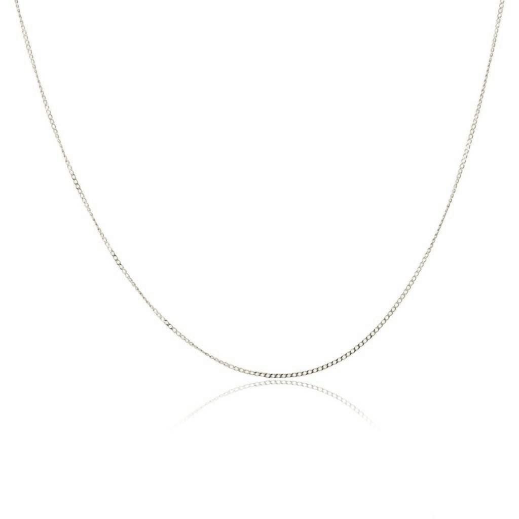 14K Gold 0.7MM Thin Curb/Cuban Chain Necklace- Available in Yellow, White or Rose-16-24''