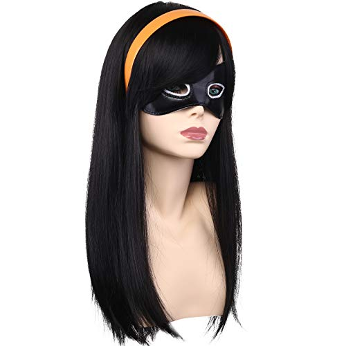 Kids Long Straight Natural Anime Cosplay Wig Halloween Costume Party Wig with Skull Cap and Teeth Comb