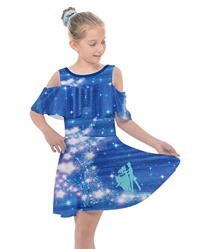 Fairy Tale Chiffon Dress (PattyCandy Girls Shoulder Cutout Chiffon Dress Fairytale Lovers Print -)