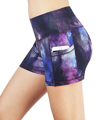 Neonysweets Womens Yoga Short Pants Exercise Workout Running Shorts 3 Pockets