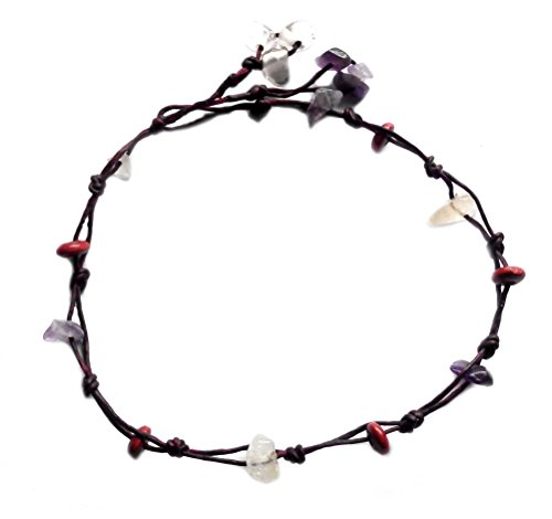Handmade Anklet Purple Natural Stones Wood Cotton Cord Boho ()