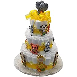 Noah's Ark - Jungle Animals Baby Shower Diaper Cake Kit for a 3 tier cake