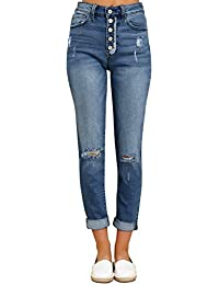 Women's High Rise Destroyed Boyfriend Jeans Washed Distressed Ripped Denim Pants