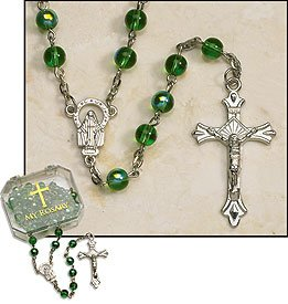 (Emerald Rosary 6 mm Glass AB Bead/Silver Plate 19.5