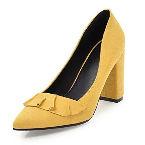 JOYBI Women's Pumps Loafers Pointed Toe Block Heels Lotus Comfortable Slip-On Chunky Low Heel Dress Shoes Yellow