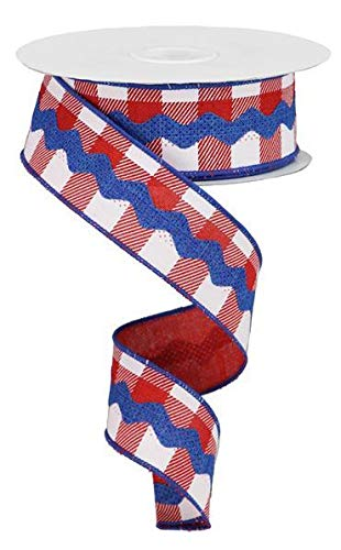 (RIC Rac on Plaid Canvas Wired Edge Ribbon - 10 Yards (Red, White, Royal Blue, 1.5