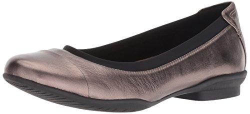 CLARKS Women's Neenah Garden Ballet Flat, Pebble Metallic Leather, 110 M US (Ballet Flats Metallic Leather)