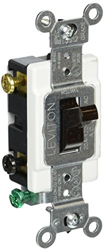Commercial Grade Toggle Switch (Leviton CS220-2 20-Amp, 120/277-Volt, Toggle Double-Pole AC Quiet Switch, Commercial Grade, Brown)