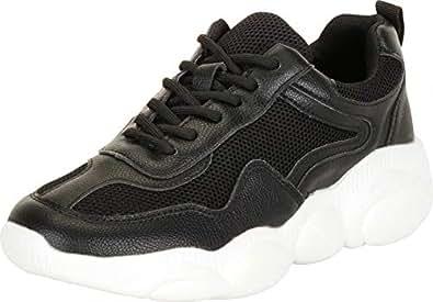 Cambridge Select Women's Retro 90s Ugly Dad Mesh Lace-Up Chunky Platform Fashion Sneaker,6 B(M) US,Black