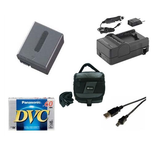 Sony DCR-HC1000 Camcorder Accessory Kit includes: SDC-27 Case, DVTAPE Tape/Media, SDNPFF70 Battery, SDM-102 Charger, USB5PIN USB Cable ()