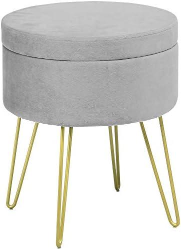 YITAHOME Velvet Round Storage Ottoman Footrest Stool Side Table Seat