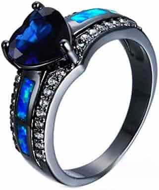 2b55915554 JULAN Heart Shape Engagement Diamond Ring Cubic Zirconia Promise Colorful  Rings for Women Men