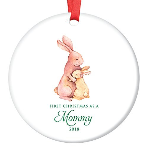 Mommy Ornament 2018, New Mother 1st Christmas as a Mommy, Bunny Rabbit Porcelain Ornament, 3