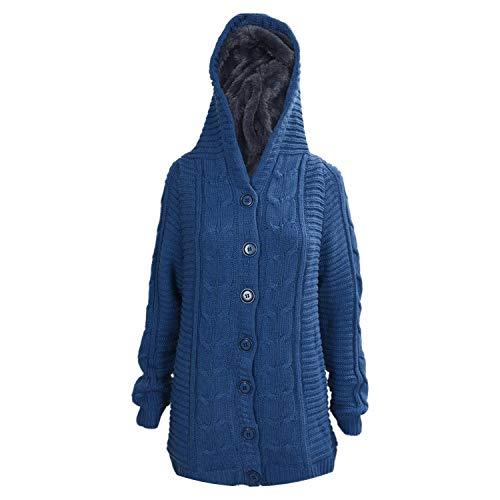Jacket Newmarket (Qounfhy Winter Womens Cardigan Knit Mid-Long Sweaters Jacket Beige Khaki Bean Green Blue Red,Blue,One Size)