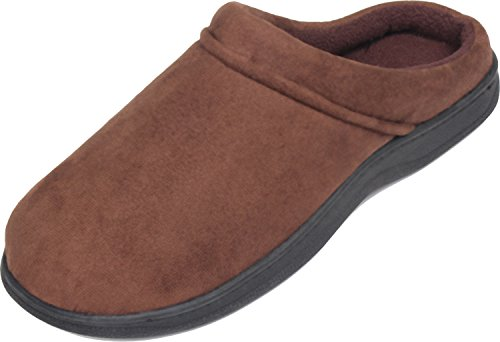 LUXEHOME-Mens-Slip-On-IndoorOutdoor-Fleece-Scuffs-Slippers