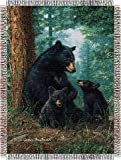 Hautman Bros. Black Bears Forest Wildlife 48x60 Tapestry Throw Blanket Wall Hanging