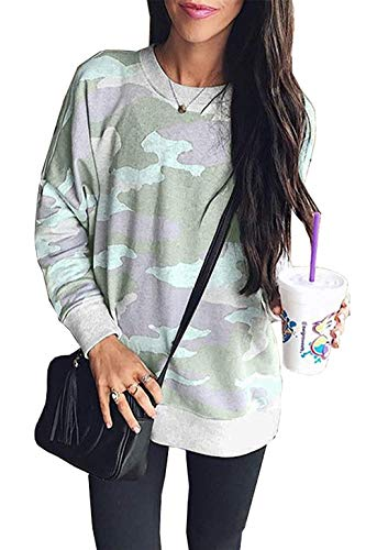 Women Camouflage Print Long Sleeve Crew Neck Loose Fit Casual Sweatshirt Pullover Tops Shirts Green