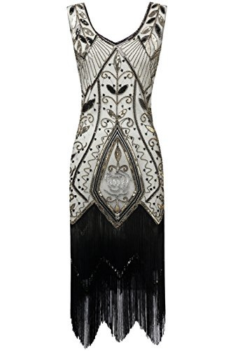 BABEYOND 1920s Flapper Fancy Dress Art Deco Fringed Sequin Dress Roaring 20s Gatsby Costume Dress Vintage Beaded Evening Dress (Black Beige, Large) (Beaded Evening Wear)