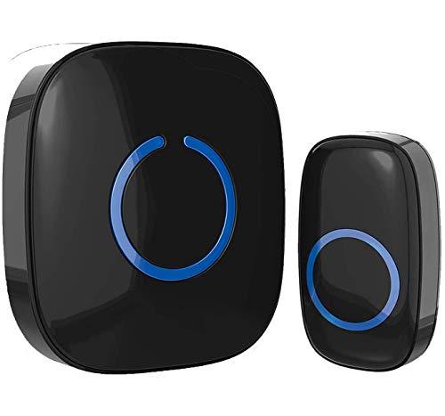 Wireless Doorbell - SadoTech Door Bells & Chimes Wireless Door Bell Kit - Over 1000 feet Range with 52 USA Doorbell Chime, Adjustable Volume, LED Flash, Waterproof, Black