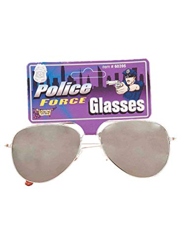 Forum Novelties Mirrored Police Glasses Costume Accessory, Silver, One Size]()