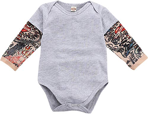 DPSKY Infant Toddler Baby Boys Girls Tattoo Printed Long Sleeve Romper Bodysuit Jumpsuit Costume