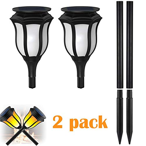 CRZJ Solar Torch Lights Flickering Flames Waterproof Solar Outdoor Landscape Decorative Path Lighting, Automatic Switch, 2 Packs