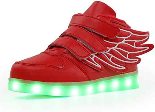 38e16eb7f527 Qkettle Kids Lights Up Sneakers Boys Girls American USA Flag Fashion LED  Shoes